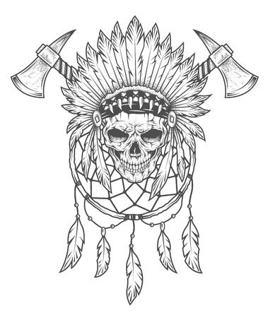 Indian skull with feathers, tomahawk and Dreamcatcher. Vector art. Dot texture is on a separate layer.