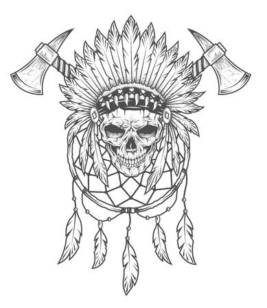 Cráneo indio con plumas, hacha de guerra y Dreamcatcher. Arte del vector. Dot textura es en una capa independiente. Foto de archivo - 43558456