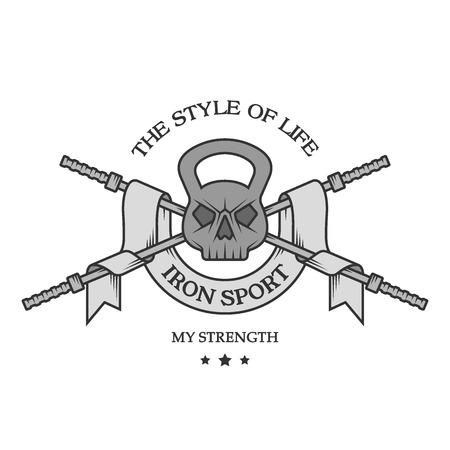 Das Gewicht des Schädels, einer Langhantel und einem Band im Vintage-Stil. Eisen trägt logo, emblem.
