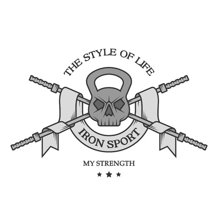 Het gewicht van de schedel, een barbell en een lint in vintage stijl. Ijzer sporten embleem, embleem.
