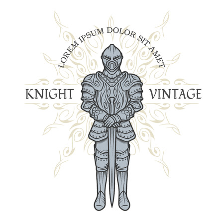 plating: Knight in armor. Vintage style Vector illustration. Illustration