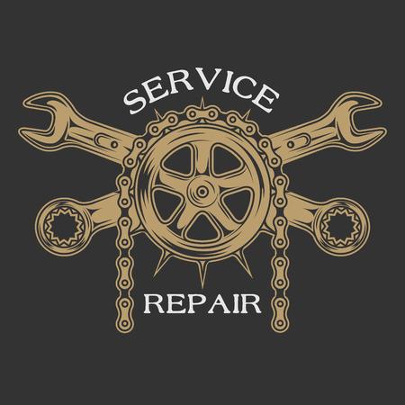 motor race: Dienst reparatie en onderhoud. Embleem logo vintage stijl.