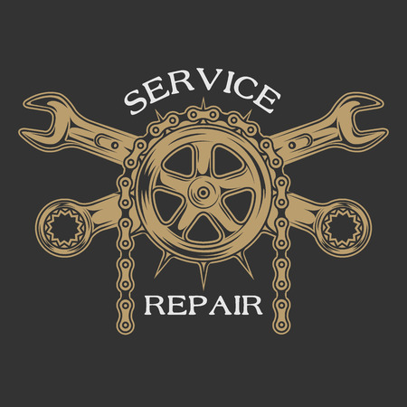 motorcycle repair shop: Service repair and maintenance. Emblem logo vintage style. Illustration