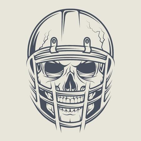 tete de mort: Crâne dans un casque pour jouer au football américain. Vector illustration.