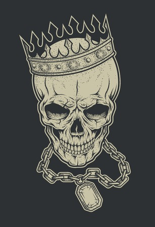 Skull, crown and chain with a precious stone. Vintage illustration in medieval style.