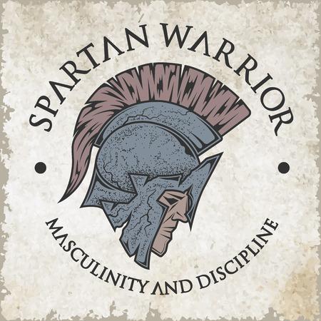 guerrero: Símbolo espartano, griego, guerrero, soldado en el casco tradicional en la cabeza. Emblema, logotipo del estilo de la vendimia.