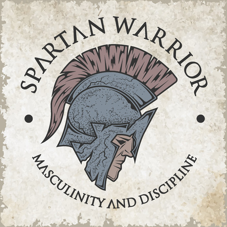 warriors: Symbol Spartan, Greek, warrior, a soldier in the traditional helmet on his head. Emblem, logo vintage style. Illustration