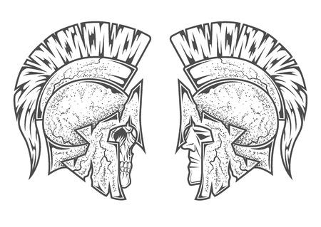 Spartaanse krijgers. Twee varianten hoofd en schedel. Stock Illustratie