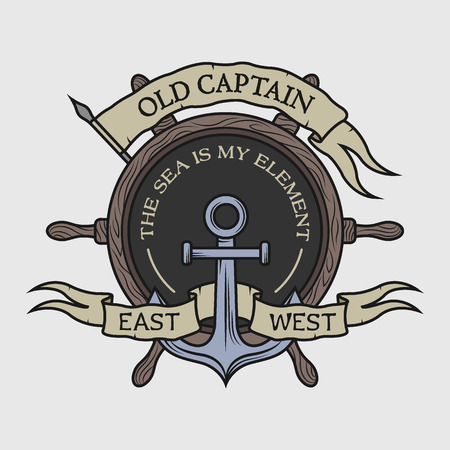 Anchor, wooden steering wheel, ribbon and a flag for the text. Marine emblem in vintage style. Option in color.