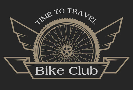 gear wheel: The emblem on the topic of bicycles. Symbol wheel with wings and place for your text.