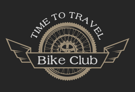 Vintage emblem on the topic cycling club. Vector illustration.