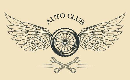 Spoked wielen, veren, vleugels vintage embleem in de klassieke stijl.