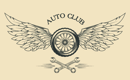 Wheels spoked, feathers, wings vintage emblem in the classical style.