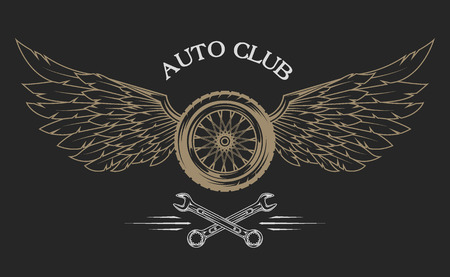 Wheel and wings with feathers vintage emblem in a classic style.