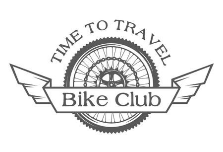 Wheel emblem on the topic of bicycles. The symbol of the wheel and place for text.