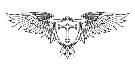 insignia: Alas con plumas y un escudo. emblema heráldico estilo de época. Vectores