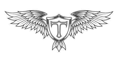shield wings: Wings with feathers and a shield. Heraldic emblem vintage style.