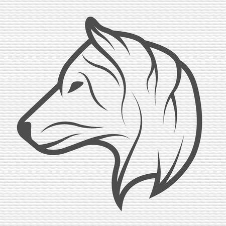 lobo feroz: Lobo símbolo emblema Contour Design