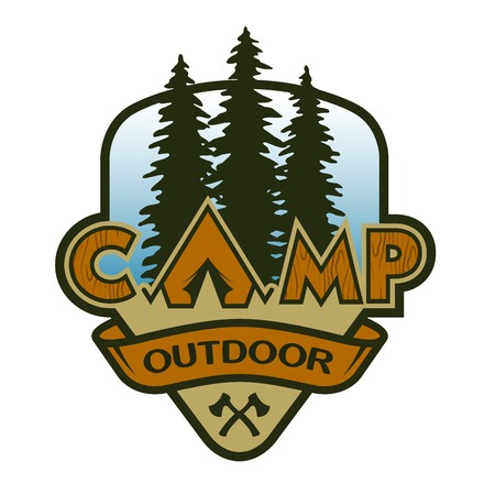 The camp outdoors hiking and traveling. Colorful poster emblem.