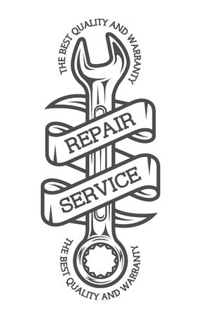 The emblem on the theme of repair. Spanners and ribbon for text. Monochrome vintage style.