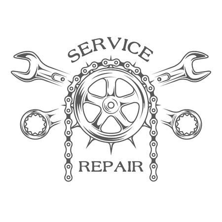 bike chain: Service maintenance and repair label emblem.
