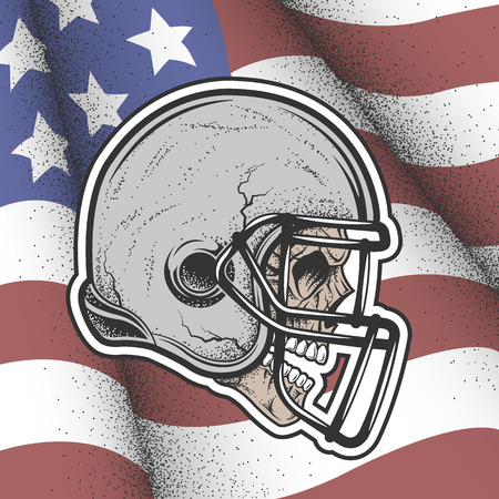 Skull in a helmet to play football on the background of the flag of America.