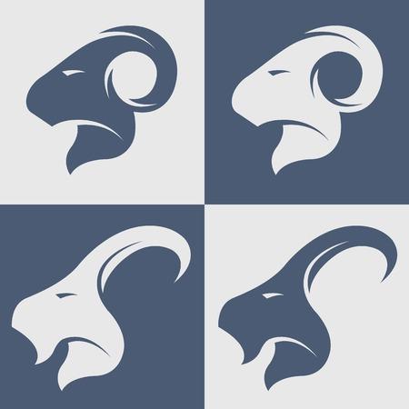 羊とヤギのシンボル アイコン イラスト。