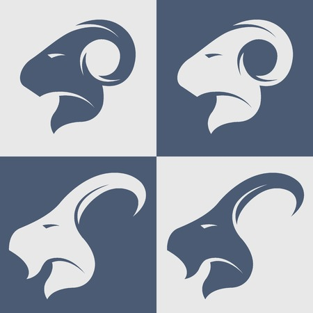 sheep sign: Sheep and goat symbol icon illustration.