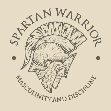 guerrero: Símbolo espartano, griego, guerrero, soldado en el casco tradicional en la cabeza. Estilo del emblema de la vendimia. Vectores
