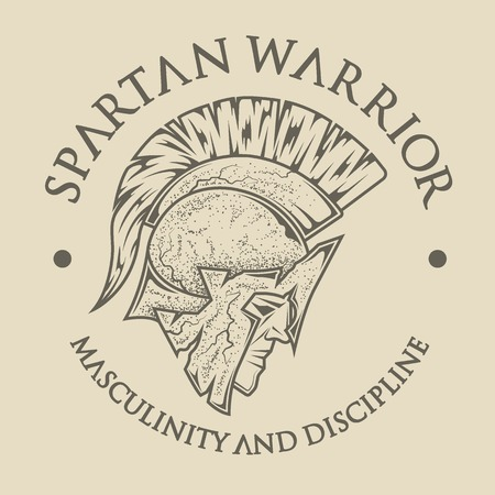 warriors: Symbol Spartan, Greek, warrior, a soldier in the traditional helmet on head. Emblem vintage style.