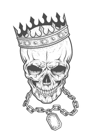 Skull with crown and chain with a precious stone. Vintage illustration in medieval style.