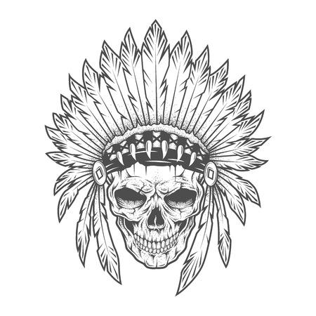 tete de mort: Crâne indien avec des plumes