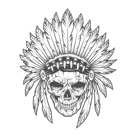 indian chief mascot: Indian skull with feathers