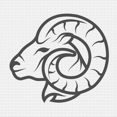 cuernos: Ram símbolo emblema Contour Design Vectores