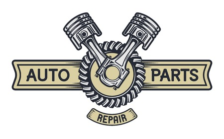 Piston gear and space for text. Repair service emblem signboard. Vettoriali