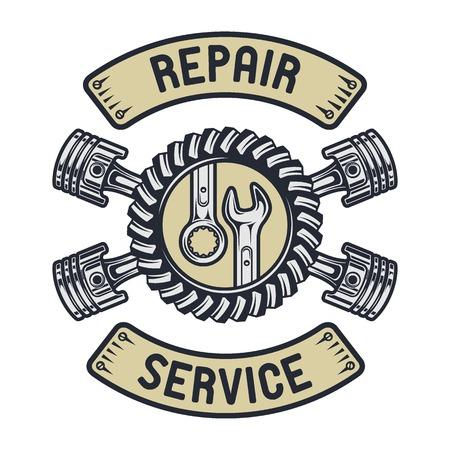 engranajes: Pist�n, engranajes y las llaves. Servicio de reparaci�n emblema Vectores