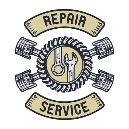 auto shop: Piston, gear and wrenches. Repair service emblem