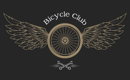 Bicycle Wheel, feathers, wings vintage emblem in the classical style. Ilustração
