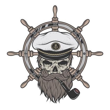캡틴 해골 수염과 바다 조 타의 배경에 파이프 모자.