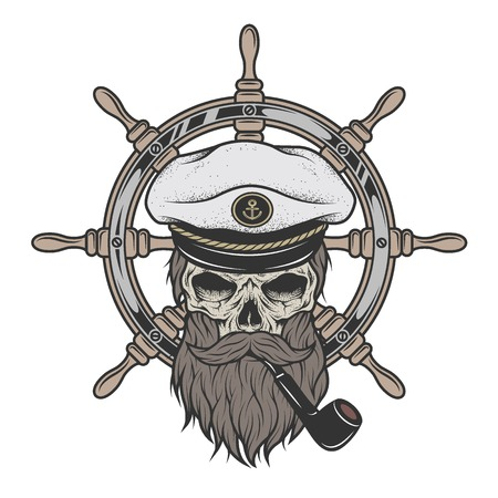 Captain Skull in a hat with a beard and a pipe on a background of sea helm.