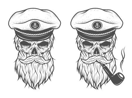 skeleton man: Hauptmann-Schädel in einem Hut mit Bart und einem Rohr. Zwei Optionen. Illustration
