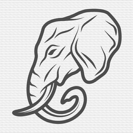 siluetas de elefantes: Elefante símbolo emblema Contour Design Vectores