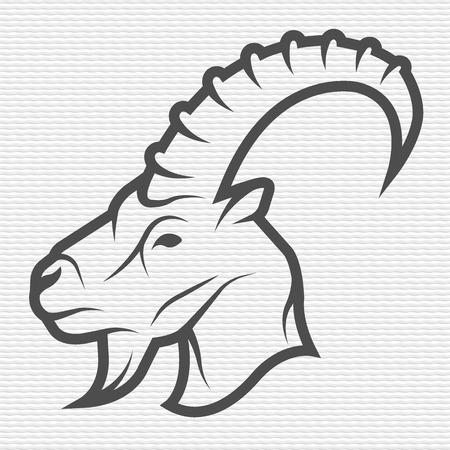 head profile: Goat symbol emblem Contour Design Illustration