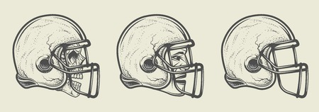 football team: Helmet for game in the American football. Three options, template, skull and head. Illustration