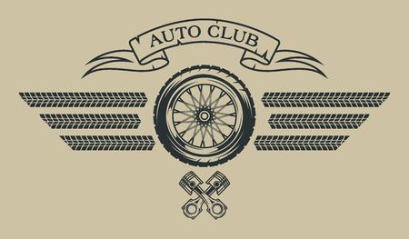 Auto emblema en ilustración de estilo vintage. Foto de archivo - 44321774