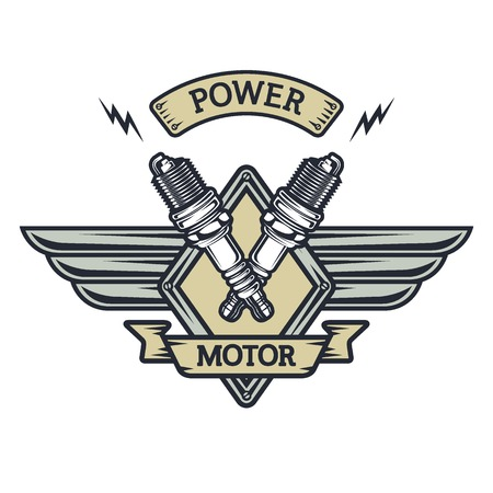 plugs: Auto emblem to the spark plugs and place for text.