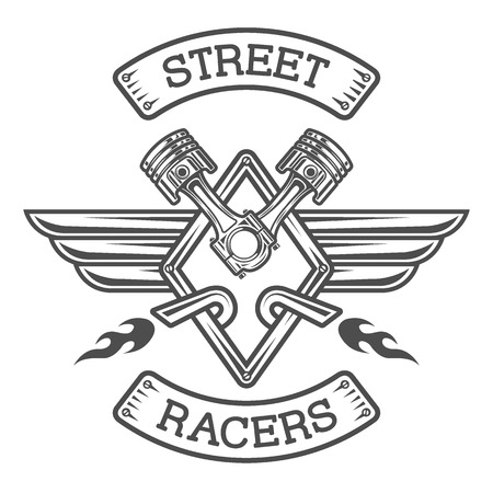 racing wings: Auto emblem sign The monochrome style