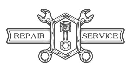 자동 서비스 상징 서명합니다. 텍스트 렌치, 플런저 및 장소. 흑백 스타일.