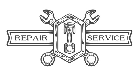 Auto service emblem, sign. Wrench, plunger and place for text. The monochrome style. Stock fotó - 44321817