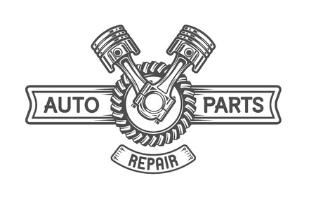 transport: Repair Service Gear en zuigers Auto embleem. Stock Illustratie